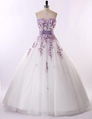 Elfenbein/Weiß Und Lila Blumen Spitze Hochzeitskleider Brautkleider Größe 32-46+ ()