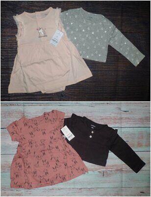 NWT Carters Unicorn Bunny Bodysuit Dress & Cardigan Baby Girls Outfit Set