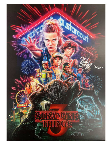 A3 S3 Stranger Things Poster Signed by Noah Schnapp 100% Authentic With COA