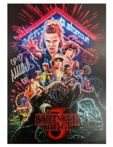 A3 Stranger Things S3 Poster Signed by Millie Bobby Brown 100% Authentic + COA