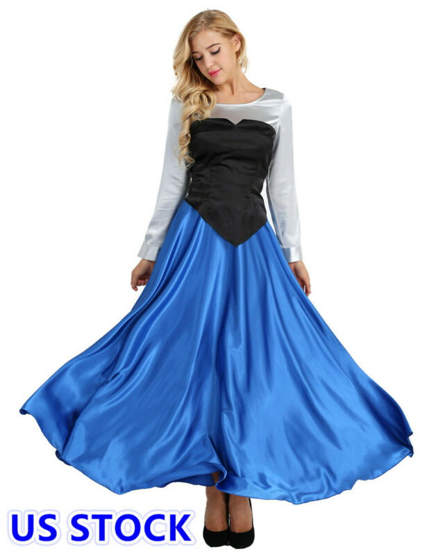 US /_Women 3 Pieces Set Mermaid Halloween Cosplay Costume Princess Party Dress Up