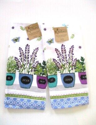 Kay Dee Designs - Kitchen Terry Towels - Herb Garden Pots - Set of 2 - NWT