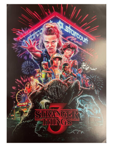 A2 S3 Stranger Things Poster Signed by Noah Schnapp 100% Authentic With COA