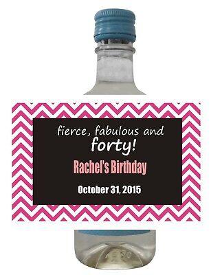 24 Chevron Mini Wine Bottle Labels for Weddings, Showers, Birthday