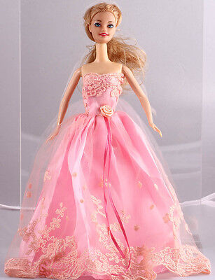 New Fashion Handmade Pink The original soft clothes dress for barbies doll 1089