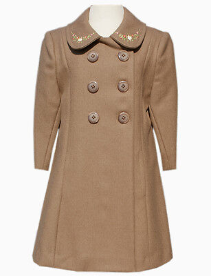 High End Girl Clothes (New High End Boutique Girls Brown Fall Winter Hand Embroidered Wool Coat)