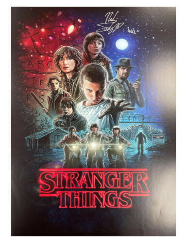 A2 S1 Stranger Things Poster Signed by Noah Schnapp 100% Authentic With COA