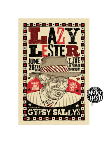 Original Lazy Lester Blues concert poster from Mojohand - free US Shipping!