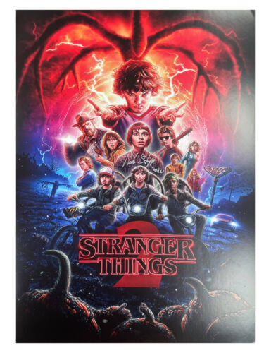 A2 S2 Stranger Things Poster Signed by Noah Schnapp 100% Authentic With COA