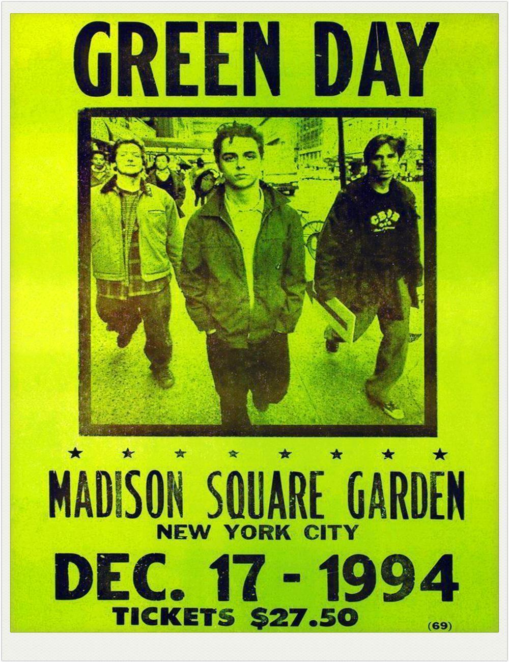 Green day Madison Square Garden 1994 0604 Vintage Music Poster Art