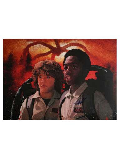 Stranger Things Lucas A2 Illustrated Print Signed By Caleb McLaughlin 100% + COA