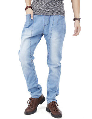 Mens Jeans Elastic Waist & Tie Jogger Pants Regular Fit Light Wash Blue W30-W44