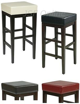 30h Bar Stool (Faux Leather Seat Wood Legs 30H Square Bar Breakfast Counter Stool Chair ES30VS3 )