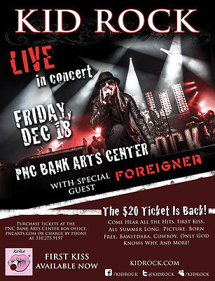 """KID ROCK / FOREIGNER """"LIVE IN CONCERT"""" 2015 NEW JERSEY TOUR POSTER - Rock Music"""