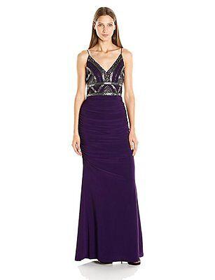 Adrianna Papell Eggplant Beaded Bodice Spaghetti Strap Gown w/ Jersey Skirt Sz 4 Beaded Jersey Skirt