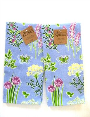 Kay Dee Designs - Kitchen Terry Towels - Herb Garden Flowers - Set of 2 - NWT