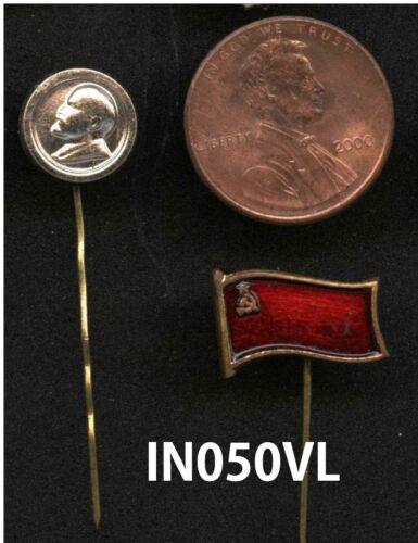 Vintage Soviet Russian Communist Vladimir Lenin MINI Pin back CIRCLE @ Red FLAG