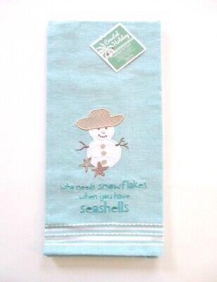 Kay Dee Designs - Christmas Applique Tea Towel - Snowflakes and Seashells - NWT