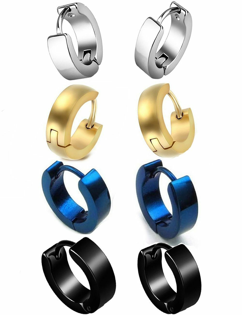 4 Pairs Punk Mens Women Stainless Steel Hoop Huggies Ear Stud Earrings Gothic Earrings