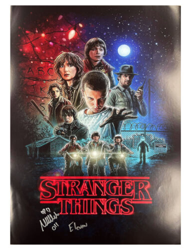 A2 Stranger Things S1 Poster Signed by Millie Bobby Brown 100% Authentic + COA