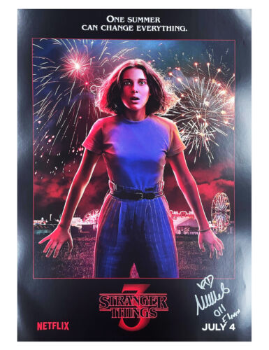 A2 Stranger Things S3 Poster Signed by Millie Bobby Brown 100% Authentic + COA