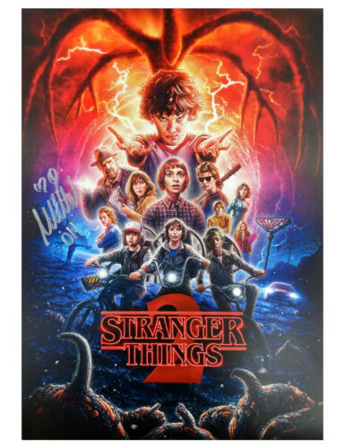 A3 Stranger Things S2 Poster Signed by Millie Bobby Brown 100% Authentic + COA
