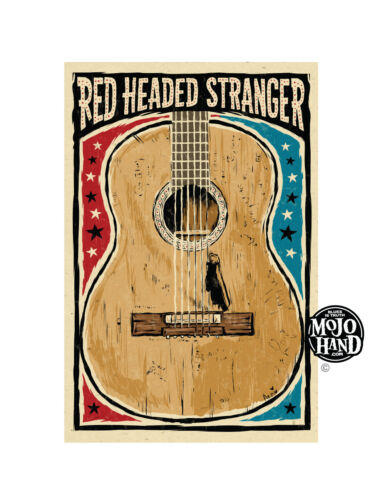 Willie Nelson red headed stranger guitar poster from - free US Shipping!