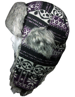 - Aztec Trapper Hat Ushanka Ladies Russian Hat Black & Purple Medium/Large Unisex
