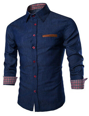 US Men's Casual Denim Shirts Long Sleeve Button Down Slim Fit Jeans Shirt Tops