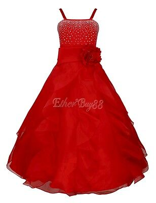 Red Flower Girl Princess Bridesmaid Wedding Kid Birthday Party Long Formal Dress