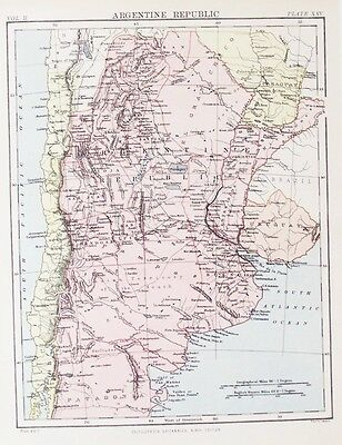 OLD ANTIQUE MAP ARGENTIA SOUTH AMERICA by W & A K JOHNSTON PRINTED COLOUR c1880s