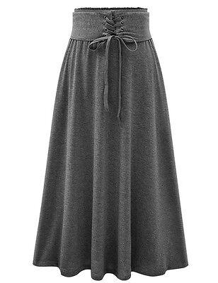 Fashion Women's Stretch High Waist Plain Skater Flared Pleated Long Skirt Dress