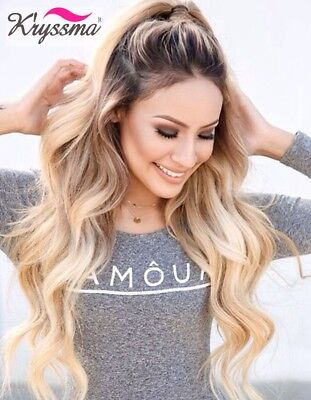 Ombre Blonde Lace Front Wig  Long Wavy Synthetic Hair Full Wigs for White Women - Wigs For White Women