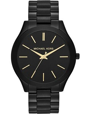 Michael Kors Gold Black Stainless Steel MK3221 Women Slim Runway Watch 8807