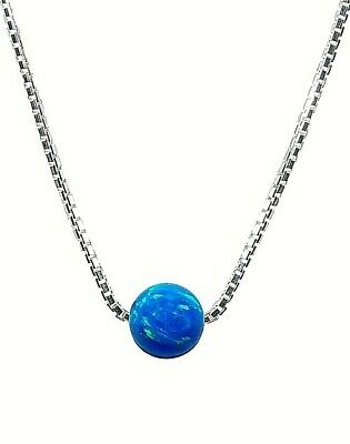 Bead Opal Necklace. Dot Ball Pendant Necklace Sterling Silver Box Chain Jewelry