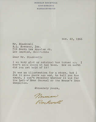 Norman Rockwell typed letter signed Dated 1966.To Mr. Blackwell, fashion critic