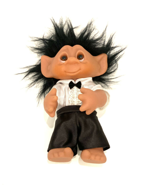 "Vintage 1977 Thomas Dam Wedding Groom Troll 9"" Made in DENMARK, Black Hair RARE"