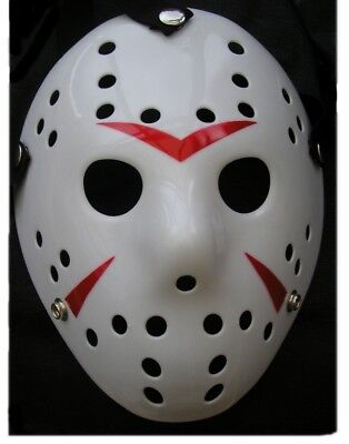 Jason Hockey Maske Horror Voorhees Maske Freitag der 13. Halloween Weiß (Hockey Maske Halloween)