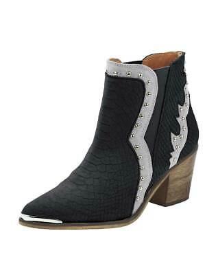 tiefelette schwarz silber Gr 36 bis 42  Stiefel Damenschuhe (Silber Cowboy-stiefel)