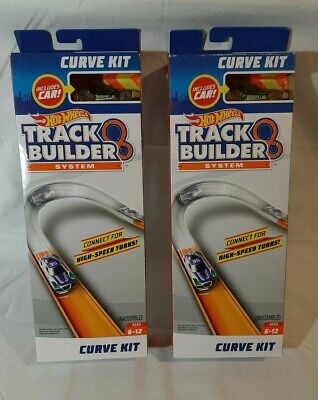 Hot Wheels Track Builder System Curve Kit w/ Cars Lot Of 2 NEW Sealed Free...