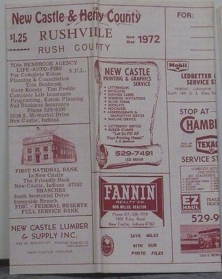 1972 Street Map of New Castle & Rushville with Local Advertising