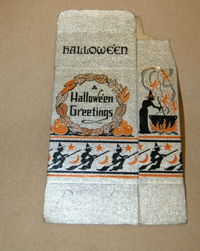 RARE Vintage Halloween Cat Candy BOX US Foil Co 1930s New Old Stock Antique