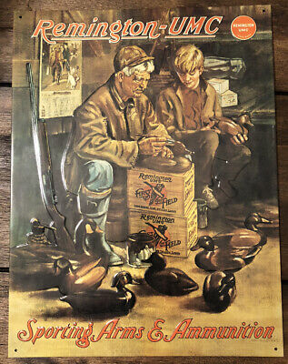 "VTG Duck DECOY MAKER Remington UMC Sporting Arms & Ammunition Tin Sign 16""x12.5"""