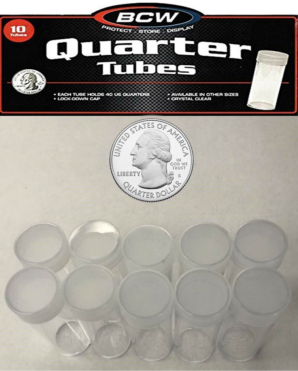 10 BCW Round Clear Plastic Nickel Coin Tubes with Screw on Caps
