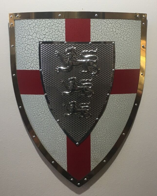England Hanging Metal Three Lions Shield 22 Inches by 17 Inches