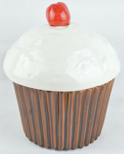 Vintage Pottery Cupcake Ceramic Cookie Jar Cherry Top USA J54