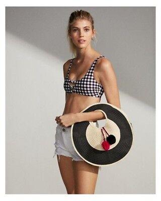 Shiraleah KELLY Round Straw Tote Handbag Purse Bag Black Natural Reg $42.50 (Kelly Tote Handbag)