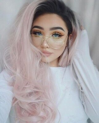 Halloween Cosplay Baby Pink Wig Long Synthetic Hair Lace Front Wigs White Women