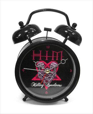 HIM - GOTH PUNK KILLING LONELINESS PINK HEARTAGRAM METAL ALARM CLOCK - NEW