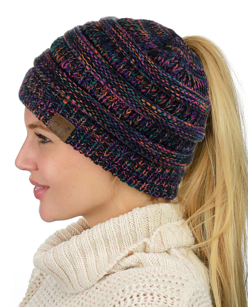 CC Ponytail Beanie Hat Soft Stretch Cable Knit High Bun Ponytail C.C Beanie!